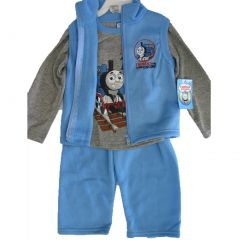 Thomas and Friends Little Boys Gray Blue Train Vest Shirt 3 Pc Pants Set 12-24M