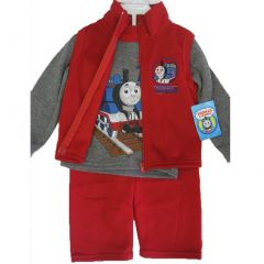 Thomas and Friends Little Boys Gray Red Train Vest Shirt 3 Pc Pants Set 12-24M