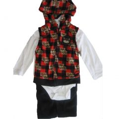 Buster Brown Baby Boys White Red Printed Hood Vest Bodysuit 3 Pc Pants Set 0-9M