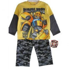 Transformers Baby Boys Yellow Grey Bumblebee Top Camo Pants Set 12-24M