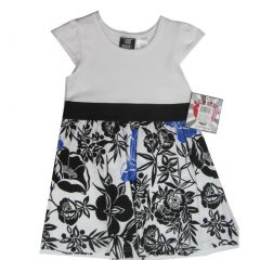 Hart Street Little Girls White Black Floral Printed Cap Sleeved Dress 2T-4T