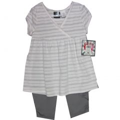 Hart Street Little Girls White Grey Stripe Wrap Style 2 Pc Leggings Set 2T-4T