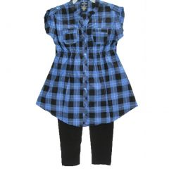 Faded Glory Big Girls Blue Black Plaid Button 2 Pc Pants Set 7-16