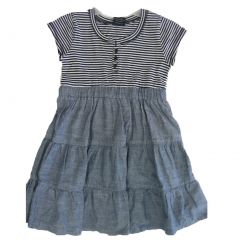 Faded Glory Little Girls Black White Stripe Denim Flared Dress 4-6X