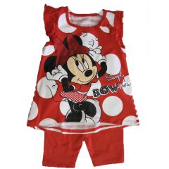 Disney Little Girls Red White Dot Minnie Print Bow 2 Pc Capri Set 2T-4T