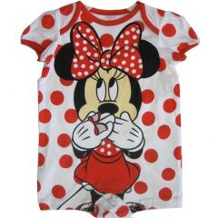 Disney Baby Girls Red White Minnie Mouse Polka Dotted Bodysuit 0-9M