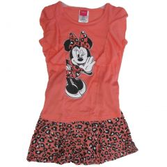 Disney Little Girls Coral Minnie Printed Spotted 2 Pc Skirt Set 4-6X