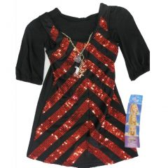 Disney Little Girls Black Red Sequin Striped Hanna Montana Dress 4-6X
