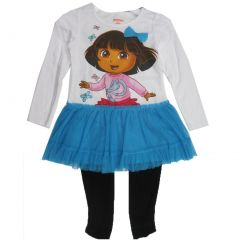 Disney Little Girls Blue Black Dora the Explorer Skirted 2 Pc Leggings Set 4-6X
