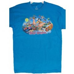 Disney Big Boys Royal Blue Magic Kingdom Inspired Print T-Shirt 14-20