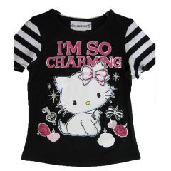 Hello Kitty Little Girls Black White I'm So Charming Print Stripe T-Shirt 4-6X