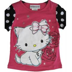Hello Kitty Little Girls Pink White Black Sleeves Rose Star Print T-Shirt 4-6X