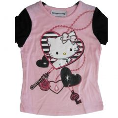 Hello Kitty Big Girls Pink Black Heart Charming Kitty Print T-Shirt 7-16