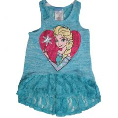Disney Little Girls Turquoise Elsa Character Print Lace Sleeveless Top 5-6X