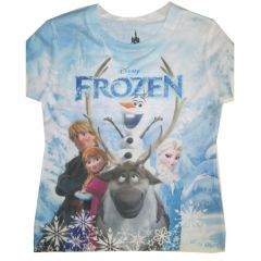 Disney Little Girls Blue White Frozen Characters Printed T-Shirt 4-5