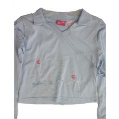 Barbie Little Girls Sky Blue Floral Embroidered Long Sleeved Shirt 4-6