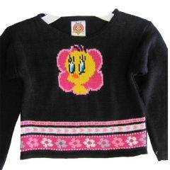 Warner Bros Little Girls Black Pink Tweety Face Motif Knit Sweater 4-6X