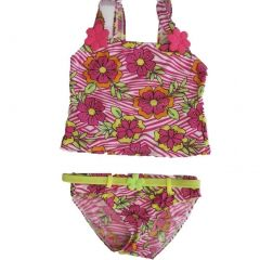 2B Real Little Girls Pink White Floral Print 2Pc Tankini Swimsuit 4-6X