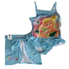 Disney Little Girls Sky Blue Tinker Bell Print Skirt 2 Pc Swimsuit 2T-4T