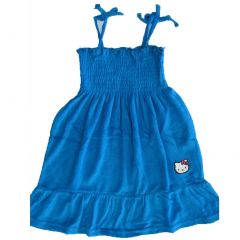 Hello Kitty Little Girls Royal Blue Embroidered Towel Dress 4-6X