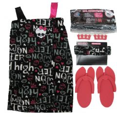 Monster High Big Girls Pink Black Top Sandals Headband Spa Essentials 7-12