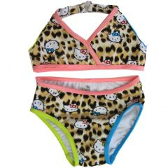 Hello Kitty Little Girls Brown Leopard Spot 2Pc Bikini Swimsuit 2T-4T