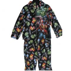 Avengers Big Boys Black Cartoon Inspired Print 2 Pc Pajama Set 8-12
