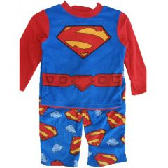 Superman Little Boys Royal Blue Logo Print 2 Pc Pajama Set 2T-6