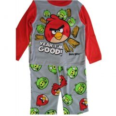 Angry Birds Little Boys Grey Red Character Printed 2 Pc Pajama Set 4-6
