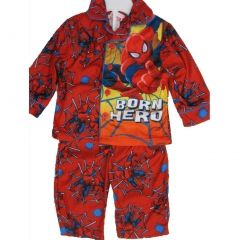 Spiderman Baby Boys Red Superhero Print Button Down 2 Pc Pajama Set 12-18M