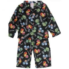 Avengers Big Boys Black Superheroes Printed Long Sleeved 2 Pc Pajama Set 8-10