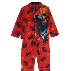 Marvels Big Boys Red Superman Character Logo Print 2 Pc Sleepwear Set 8-12