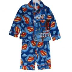 Superman Big Boys Royal Blue Superhero Print Long Sleeved 2 Pc Pajama Set 8-10