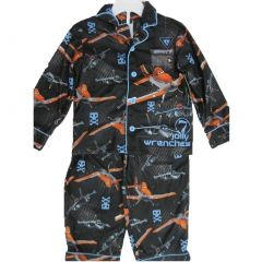 Planes Little Boys Black Cartoon Inspired Graphic Print 2 Pc Pajama Set 4-6