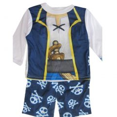 Jake the Pirate Baby Boys White Navy Blue Cartoon 2 Pc Pajama Set 12-24M