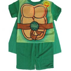 Nickelodeon Little Boys Green Ninja Turtles Printed Cape 2 Pc Pajama Set 2T-4T