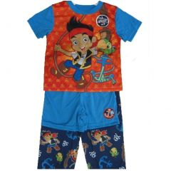 Disney Little Boys Red Blue Jake The Pirate Cartoon 3 Pc Pajama Set 2T-4T
