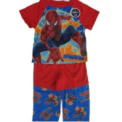 Marvel Little Boys Red Blue Spiderman Superhero 3 Pc Pajama Set 2T-4T