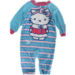 Hello Kitty Little Girls Sky Blue Striped Cat Print Zipper Bodysuit 2T-4T