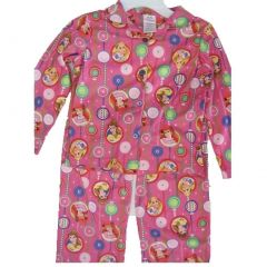 Disney Big Girls Pink Princesses Bubble Images 2 Pc Pajama Set 8-10