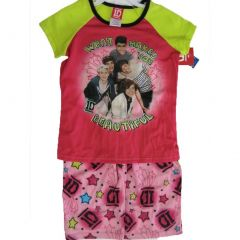 1D Little Girls Pink Green One Direction Band Print 2 Pc Sleep Wear Set 6-6X