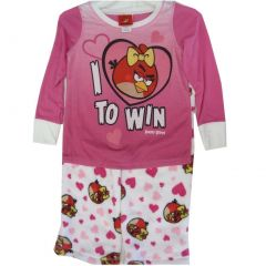 Angry Birds Little Girls White Pink Character Print 2 Pc Pajama Set 4-6