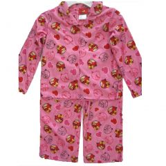 Little Girls White Pink Angry Birds Character Print 2 Pc Pajama Set 4-6