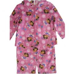Nickelodeon Little Girls Pink Dora The Explorer Bubble 2Pc Pajama Set 2T-4T