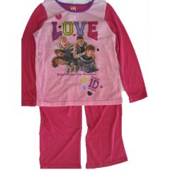 1D Little Girls Pink Fuchsia One Direction Band Print 2 Pc Pajama Set 4-6
