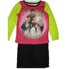 1D Little Girls Pink Green Black One Direction Band Print 2 Pc Pajama Set 4-6