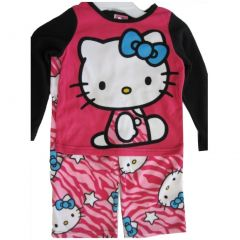 Hello Kitty Big Girls Fuchsia Black Kitty Spotted Print 2 Pc Pajama Set 8-10