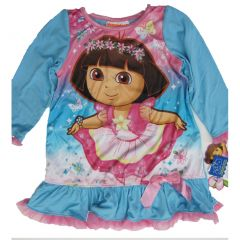 Nickelodeon Little Girls Sky Blue Dora The Explorer Print Sleep Dress 2T-4T