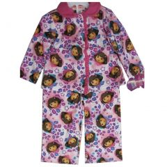 Nickelodeon Little Girls Pink Dora The Explorer Heart Print 2 Pc Pajama Set 2-4T