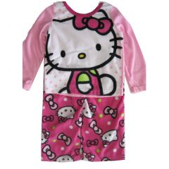 Hello Kitty Big Girls Fuchsia Kitty Image Dot Print 2 Pc Pajama Set 8-10